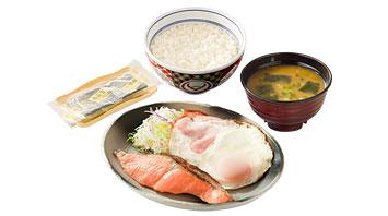ハムエッグ焼き魚定食