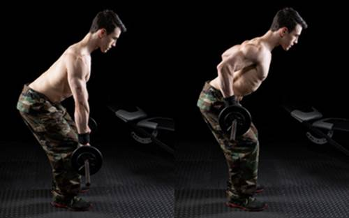 61778032 - barbell bent over row exercise. studio shot over black.