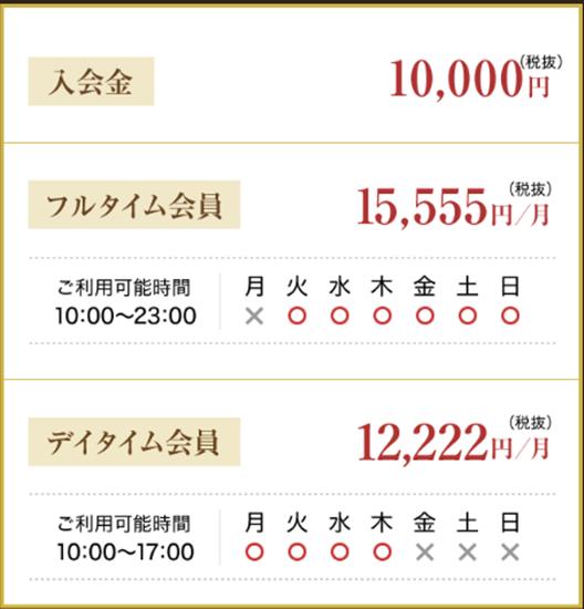 LIPTY(リプティ)の料金システム表
